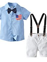 cheap -Kids Boys' Basic Christmas Home Print Solid Colored Print Short Sleeve Regular Regular Clothing Set Blue