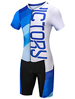 cheap -21Grams Women's Short Sleeve Triathlon Tri Suit Blue / White Bike Clothing Suit UV Resistant Breathable Quick Dry Sweat-wicking Sports Letter & Number Mountain Bike MTB Road Bike Cycling Clothing