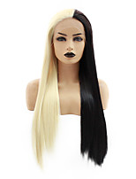 cheap -Synthetic Lace Front Wig Straight Gaga Middle Part Lace Front Wig Long Black / Gold Synthetic Hair 22-26 inch Women's Heat Resistant Women Hot Sale Black Blonde / Glueless