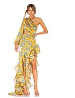 cheap -Women's Sheath Dress - Floral Yellow S M L XL