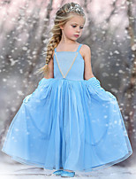 cheap -Princess Dress Girls' Movie Cosplay Cosplay Halloween Light Blue Dress Halloween Carnival Masquerade Tulle Polyester
