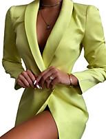 cheap -Women's Blazer V Neck Polyester Green