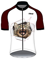 cheap -21Grams Women's Short Sleeve Cycling Jersey 100% Polyester Black / White Cat Animal Bike Jersey Top Mountain Bike MTB Road Bike Cycling UV Resistant Breathable Quick Dry Sports Clothing Apparel