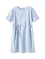 cheap -Kids Girls' Street chic Sophisticated Solid Colored Drawstring Short Sleeve Knee-length Dress Light Blue