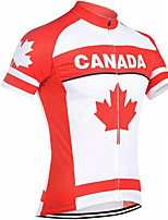 cheap -21Grams Men's Short Sleeve Cycling Jersey 100% Polyester Red / White Canada Bike Jersey Top Mountain Bike MTB Road Bike Cycling UV Resistant Breathable Quick Dry Sports Clothing Apparel / Stretchy