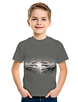 cheap -Kids Boys' Active Street chic 3D Print Short Sleeve Tee Gray