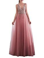 cheap -A-Line V Neck Floor Length Polyester Elegant Formal Evening / Holiday Dress 2020 with Split