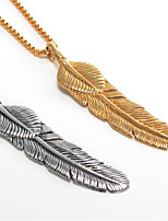 cheap -Men's Pendant Necklace Classic Leaf Fashion Stainless Steel Gold Silver 55 cm Necklace Jewelry 1 Piece For Daily Wear Holiday