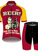 cheap -21Grams Men's Short Sleeve Cycling Jersey with Shorts Red / Yellow Oktoberfest Beer Bike Clothing Suit UV Resistant Breathable Quick Dry Sweat-wicking Sports Oktoberfest Beer Mountain Bike MTB Road