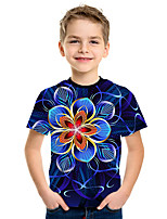 cheap -Kids Boys' Active Street chic Floral 3D Print Short Sleeve Tee Purple