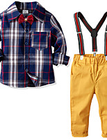 cheap -Kids Toddler Boys' Basic Birthday Party Party & Evening Geometric Print Long Sleeve Regular Regular Clothing Set Yellow