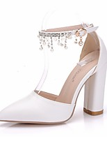 cheap -Women's Wedding Shoes Chunky Heel Pointed Toe PU Spring & Summer White