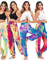 cheap -Women's Yoga Pants Tie Dye Purple Yellow Green Red Cotton Dance Fitness Gym Workout Bloomers Bottoms Sport Activewear Breathable Quick Dry Soft Loose