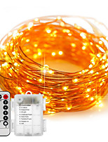 cheap -1pcs 100LED Fairy Lights Battery Operated 10m String Lights Remote Control Timer Twinkle String Lights 8 Modes Firefly Lights