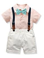 cheap -Kids Boys' Basic Christmas Home Solid Colored Print Short Sleeve Regular Regular Clothing Set Blushing Pink