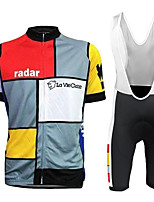 cheap -21Grams Men's Short Sleeve Cycling Jersey with Bib Shorts Black / Red Geometic Bike Clothing Suit UV Resistant Breathable 3D Pad Quick Dry Reflective Strips Sports Solid Color Mountain Bike MTB Road