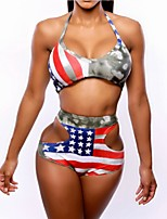 cheap -Women's Basic Blue Halter Briefs Bikini Swimwear - National Flag Backless Lace up S M L Blue