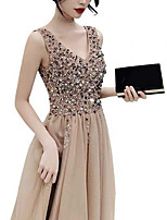 cheap -A-Line V Neck Knee Length Polyester Elegant Cocktail Party / Holiday Dress 2020 with Sequin