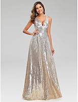 cheap -A-Line V Neck Floor Length Polyester Sparkle / Sexy Engagement / Prom / Wedding Guest Dress 2020 with Sequin