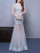 cheap -Mermaid / Trumpet Jewel Neck Floor Length Polyester Elegant Formal Evening / Holiday Dress 2020 with Appliques