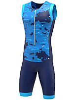cheap -21Grams Women's Sleeveless Triathlon Tri Suit Camouflage Blue Grey Bike Clothing Suit UV Resistant Breathable Quick Dry Sweat-wicking Sports Graphic Mountain Bike MTB Road Bike Cycling Clothing