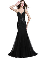 cheap -Mermaid / Trumpet Spaghetti Strap Sweep / Brush Train Tulle Sexy / Black Engagement / Prom / Wedding Guest Dress 2020 with Beading / Sequin