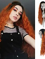 cheap -Synthetic Lace Front Wig Loose Curl Side Part Lace Front Wig Long Ombre Orange Synthetic Hair 18-24 inch Women's Heat Resistant Synthetic Easy dressing Ombre / Natural Hairline