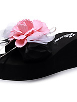 cheap -Women's Slippers & Flip-Flops Wedge Heel Open Toe Bowknot / Satin Flower Polyester Sweet / Chinoiserie Walking Shoes Summer Black / Light Yellow / Pink