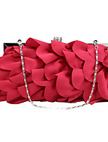 cheap -Women's Tassel / Embossed Polyester / Silk Evening Bag Solid Color Silver / Red