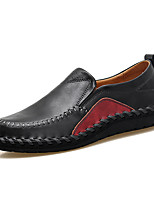 cheap -Men's Moccasin Cowhide Spring & Summer / Fall & Winter Casual / British Loafers & Slip-Ons Non-slipping Black / Brown / Wine