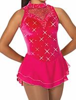 abordables -Robe de Patinage Artistique Femme Fille Patinage Robes Rouge Mosaïque Spandex Haute élasticité Entraînement Compétition Tenue de Patinage Cristal / Stras Sans Manches Patinage sur glace Patinage