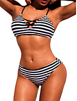 cheap -Women's Basic White Halter Boy Leg Bikini Swimwear - Striped Color Block S M White