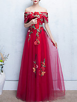 cheap -A-Line Off Shoulder Floor Length Polyester Elegant Prom / Formal Evening Dress 2020 with Appliques / Embroidery