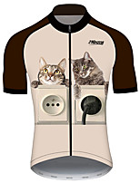 cheap -21Grams Women's Short Sleeve Cycling Jersey 100% Polyester Black / Yellow Cat Animal Bike Jersey Top Mountain Bike MTB Road Bike Cycling UV Resistant Breathable Quick Dry Sports Clothing Apparel
