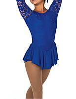 abordables -Robe de Patinage Artistique Femme Fille Patinage Robes Bleu Spandex Haute élasticité Entraînement Compétition Tenue de Patinage Mosaïque Manches Longues Patinage sur glace Patinage Artistique