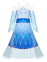 cheap -Elsa Dress Girls' Movie Cosplay Cosplay Halloween Blue Dress Halloween Carnival Masquerade Tulle Polyester