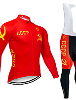 cheap -21Grams Men's Long Sleeve Cycling Jersey with Bib Tights Red National Flag Bike Clothing Suit UV Resistant Breathable Quick Dry Sports National Flag Mountain Bike MTB Road Bike Cycling Clothing
