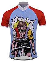 cheap -21Grams Men's Short Sleeve Cycling Jersey 100% Polyester Red+Blue Bike Jersey Top Mountain Bike MTB Road Bike Cycling UV Resistant Breathable Quick Dry Sports Clothing Apparel / Stretchy / Race Fit