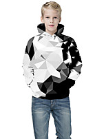 cheap -Kids Boys' Active Punk & Gothic Geometric Color Block 3D Long Sleeve Hoodie & Sweatshirt White