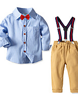 cheap -Kids Toddler Boys' Basic Birthday Party Party & Evening Striped Print Long Sleeve Regular Regular Clothing Set Light Blue