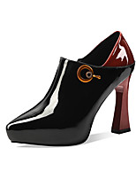 cheap -Women's Heels Sculptural Heel Pointed Toe Patent Leather Classic Spring &  Fall Black / Brown / Wedding / Party & Evening / Color Block