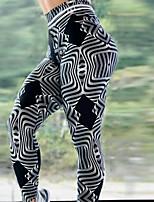 cheap -Women's High Waist Yoga Pants Winter 3D Print Black / White Elastane Running Fitness Gym Workout Tights Leggings Sport Activewear Breathable Moisture Wicking Butt Lift Tummy Control High Elasticity