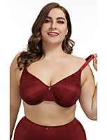cheap -Women's Lace Bras Underwire Bra Padless Full Coverage Bra Solid Color Lace Embroidered Wine