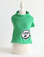 cheap -Dog Costume Shirt / T-Shirt Dog Clothes Breathable Green Coffee Costume Beagle Bichon Frise Chihuahua Fabric Solid Colored Quotes & Sayings Casual / Sporty Cute XS S M L XL