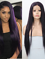 cheap -Synthetic Lace Front Wig Straight Middle Part Lace Front Wig Long Dark Purple Synthetic Hair 18-26 inch Women's Soft Adjustable Party Purple