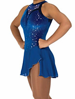 cheap -Figure Skating Dress Women's Girls' Ice Skating Dress Blue Patchwork Spandex High Elasticity Training Competition Skating Wear Crystal / Rhinestone Sleeveless Ice Skating Figure Skating