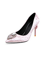 cheap -Women's Wedding Shoes Stiletto Heel Pointed Toe Rhinestone Suede Business / Classic Spring & Summer Black / Red / Pink / Party & Evening