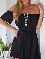 cheap -Women's Black Dress Elegant Sheath Solid Colored Leaf Strapless S M Slim