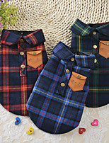cheap -Dog Cat Vest Dog Clothes Green Red Blue Costume Husky Labrador Alaskan Malamute Cotton Plaid / Check Simple Style British XS S M L XL