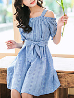 cheap -Kids Girls' Cute Street chic Blue & White Houndstooth Bow Short Sleeve Knee-length Dress Fuchsia